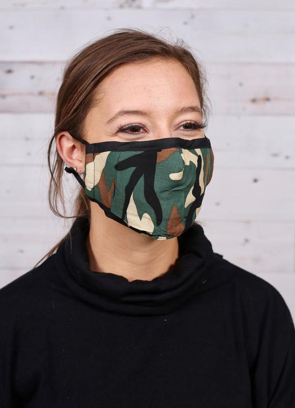 Gastone Camo Mask Adjustable Nose Wire Green - Caroline Hill