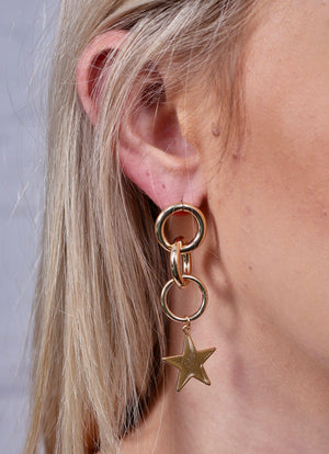 Gazer Gold Star Drop Earring - Caroline Hill