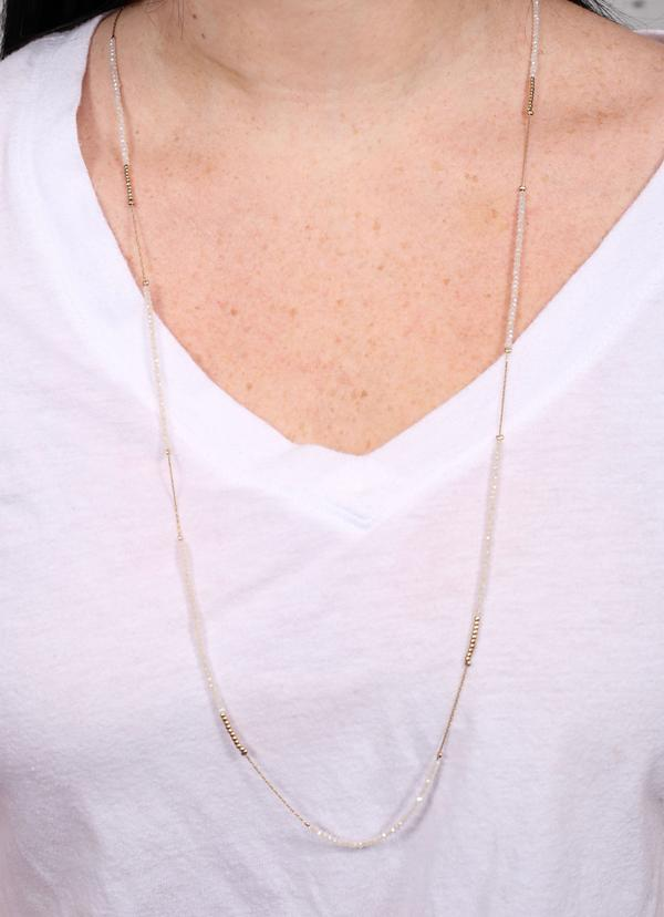 Gertz Bead And Chain Long Necklace White - Caroline Hill