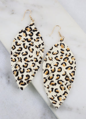Gildan Ivory Animal Print Feather Earring - Caroline Hill