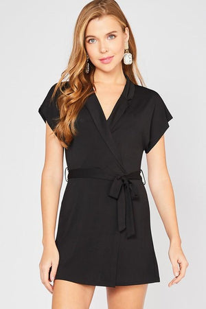 Girl's Night Out Black Tie Romper - Caroline Hill