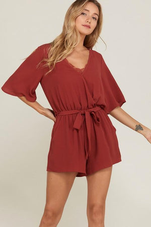 Girl's Night Out Rust Romper - Caroline Hill
