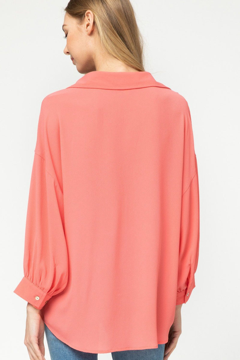 Give it to You Coral Collared Top - Caroline Hill