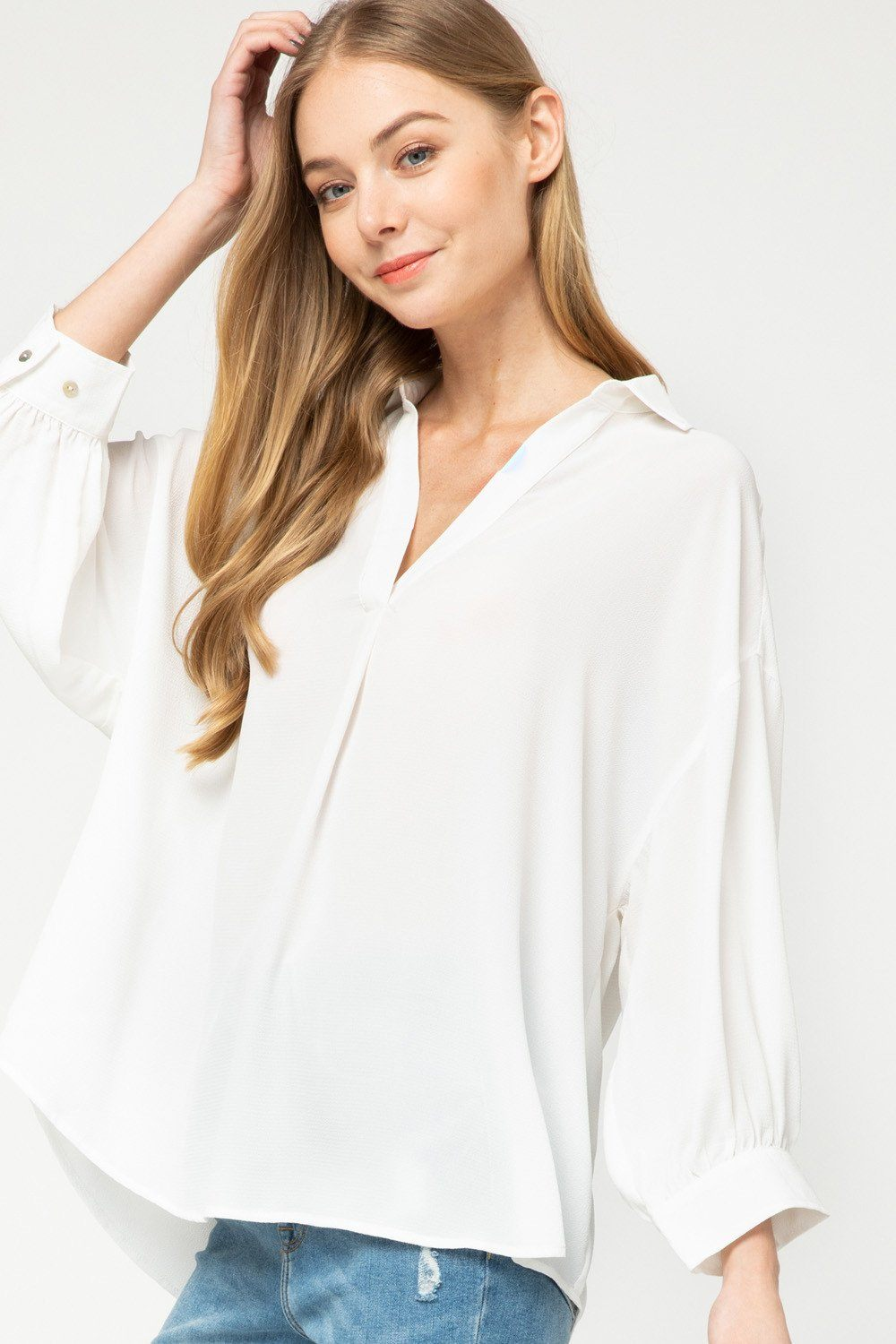 Give it to You Off White Collared Top - Caroline Hill
