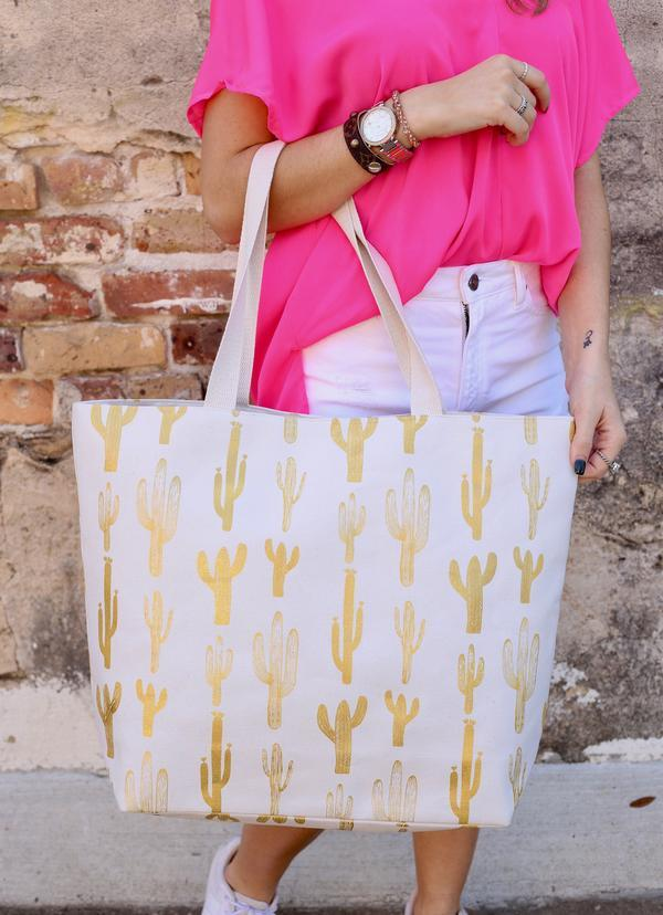 Gold Foil Cactus White Tote Bag - Caroline Hill