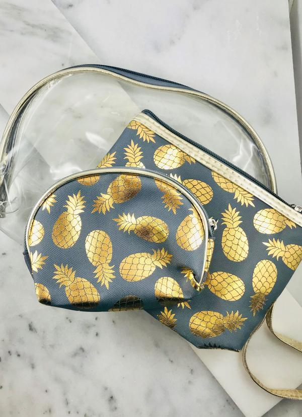 Gold Foil Pineapple Set Of 3 Pouches Gray - Caroline Hill