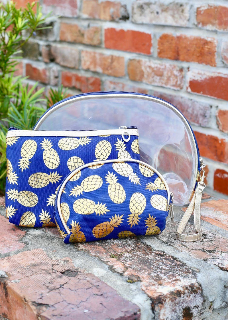 Gold Foil Pineapple Set Of 3 Pouches Navy - Caroline Hill