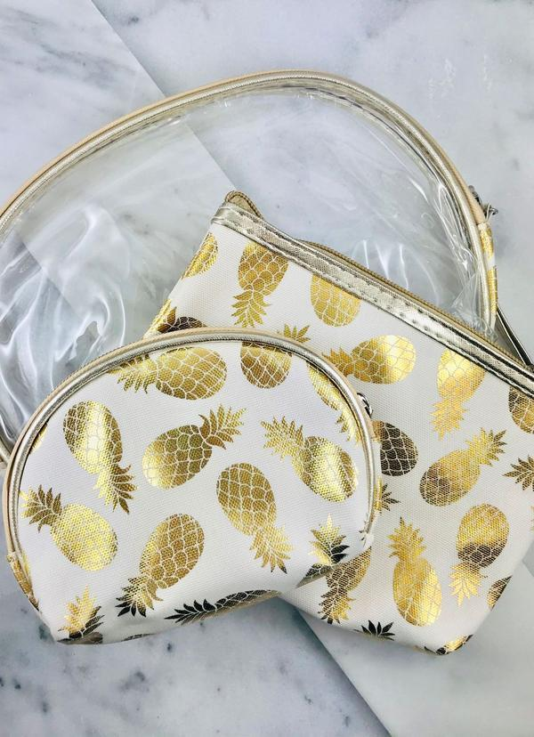 Gold Foil Pineapple Set Of 3 Pouches White - Caroline Hill