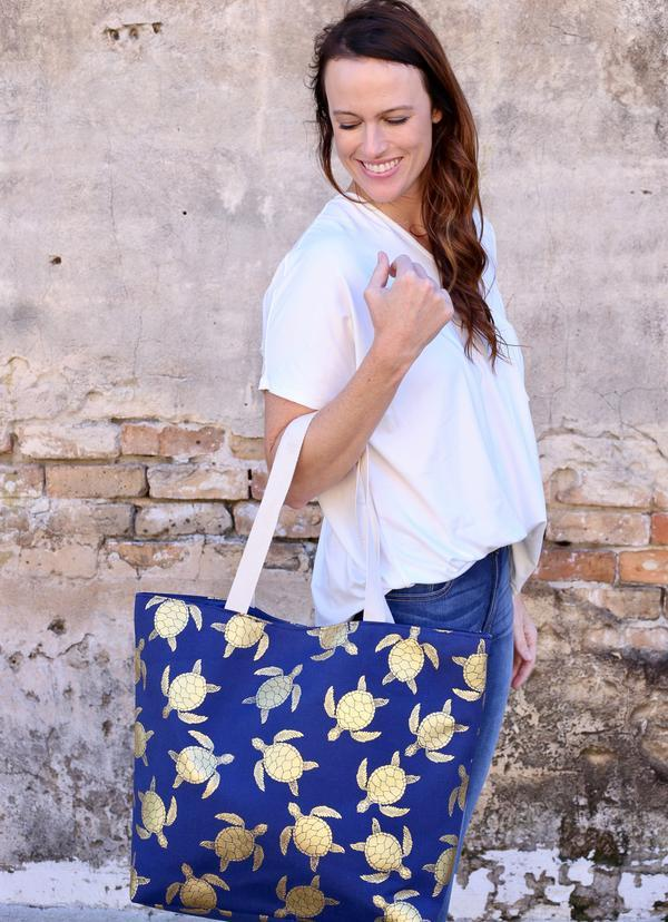 Gold Foil Turtle Tote Bag Navy - Caroline Hill