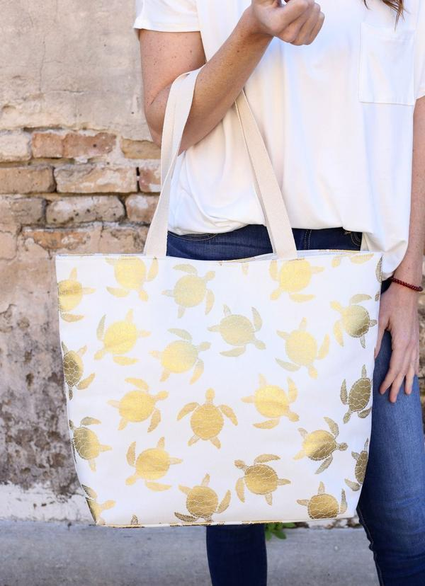Gold Foil Turtle Tote Bag White - Caroline Hill