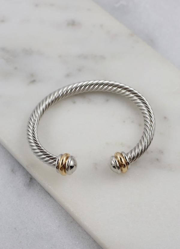 Goldsberry Cable Cuff Bracelet Silver - Caroline Hill