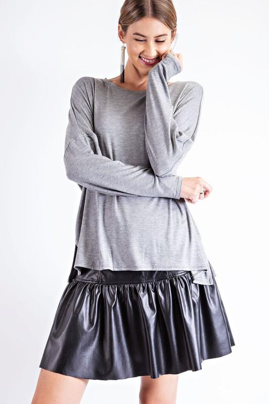 Good To Go Gray Long Sleeve Top - Caroline Hill