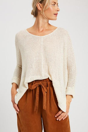 Gotta Run Cream Knit Sweater - Caroline Hill