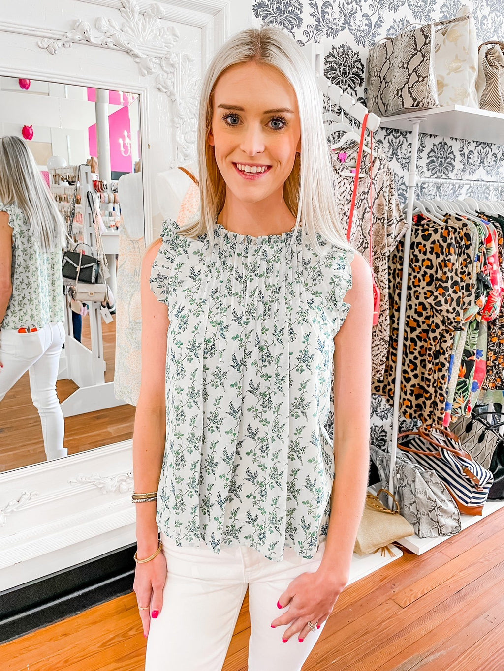 Green Floral Top - Caroline Hill