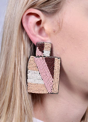 Grubbs Beaded Rectangle Drop Earring Nude - Caroline Hill