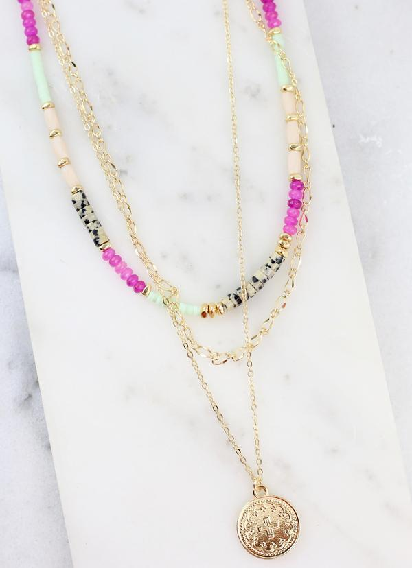 Halsey Fuschia Mixed Bead Layered Necklace - Caroline Hill