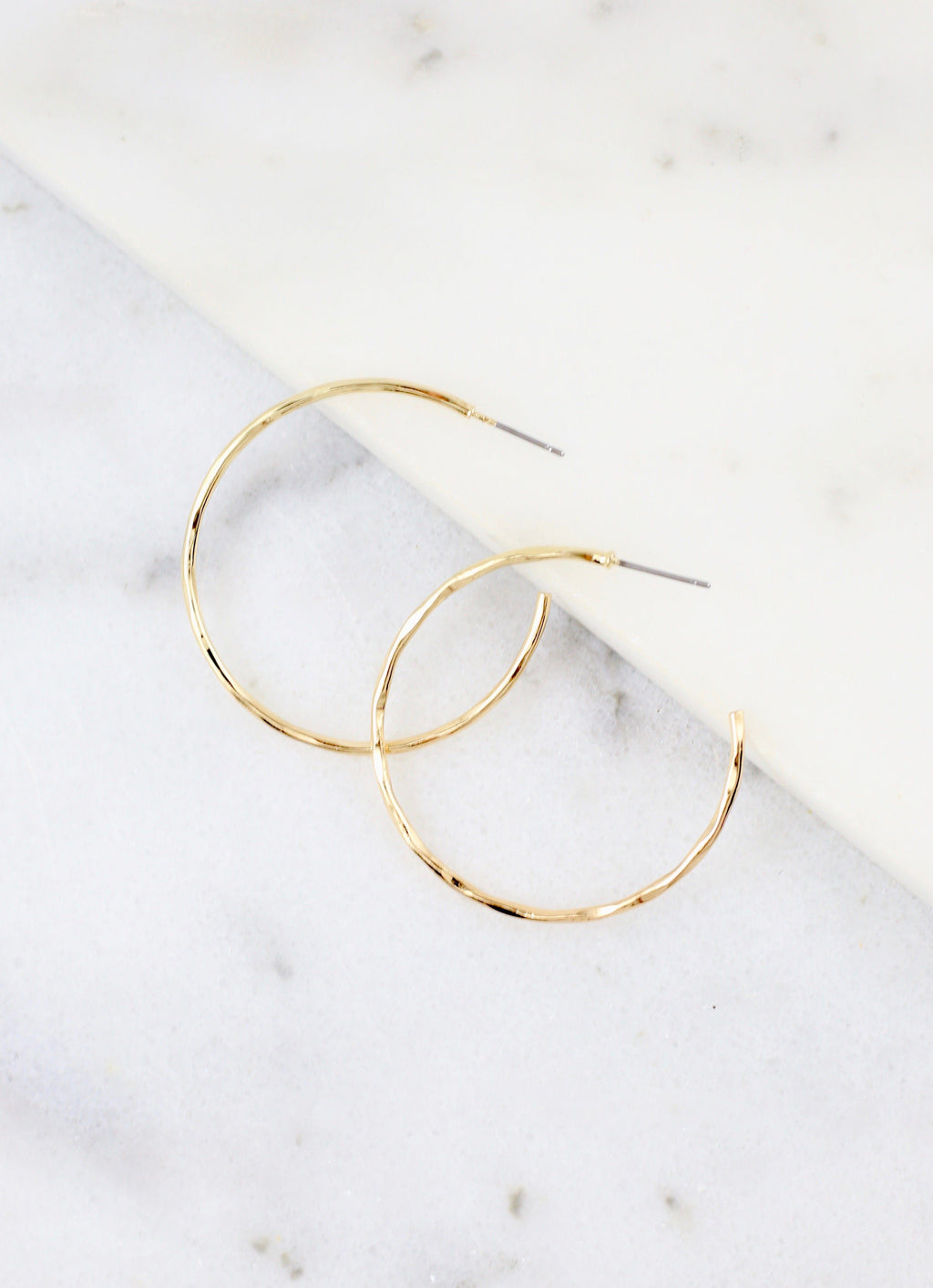 Hammond Medium Hammered Hoop Gold - Caroline Hill