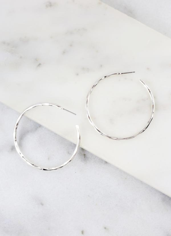 Hammond Medium Thin Hammered Hoop Silver - Caroline Hill