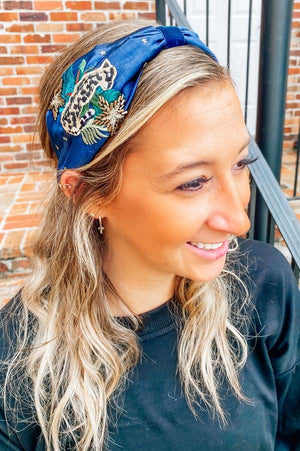 Hampshire Satin Headband With Leopard Navy - Caroline Hill