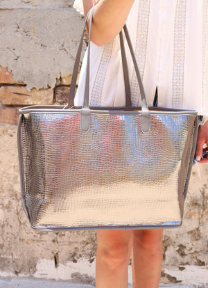 Hampton Pewter Croc Metallic Tote - Caroline Hill