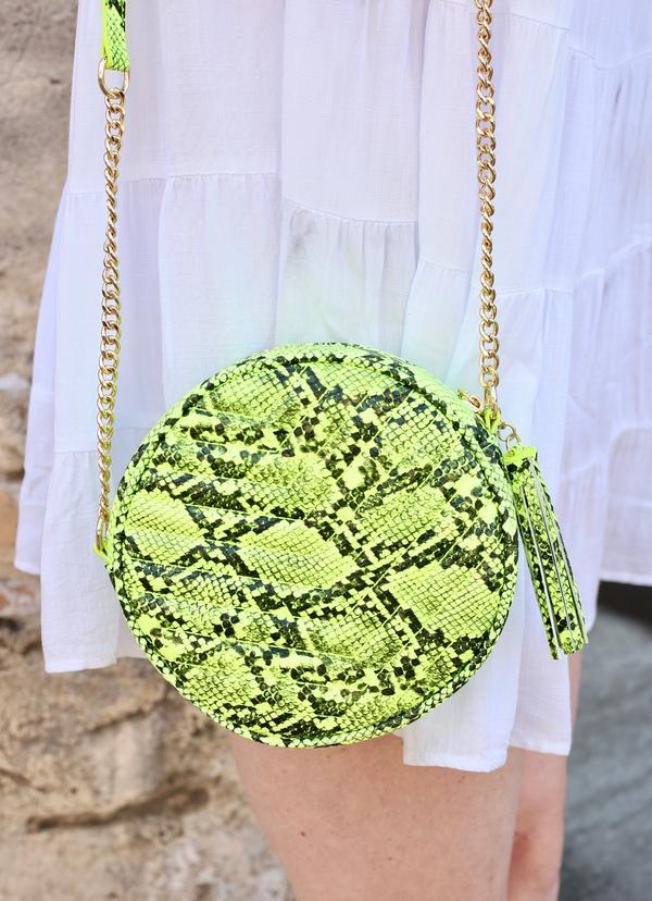 Harris Round Neon Yellow Snake Crossbody - Caroline Hill