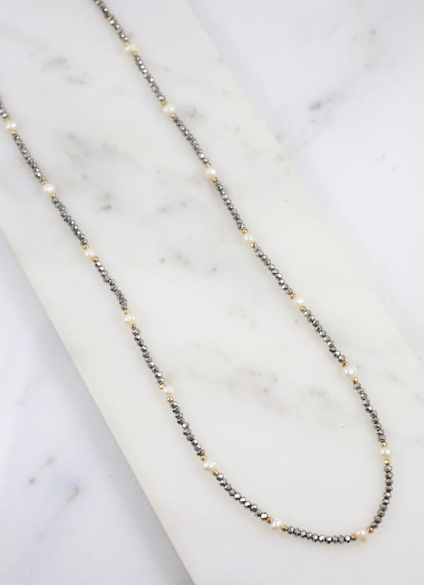 Hastings Glass Bead And Pearl Necklace Hematite - Caroline Hill