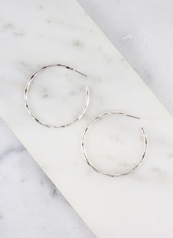 Hatcher Medium Hammered Hoop Silver - Caroline Hill