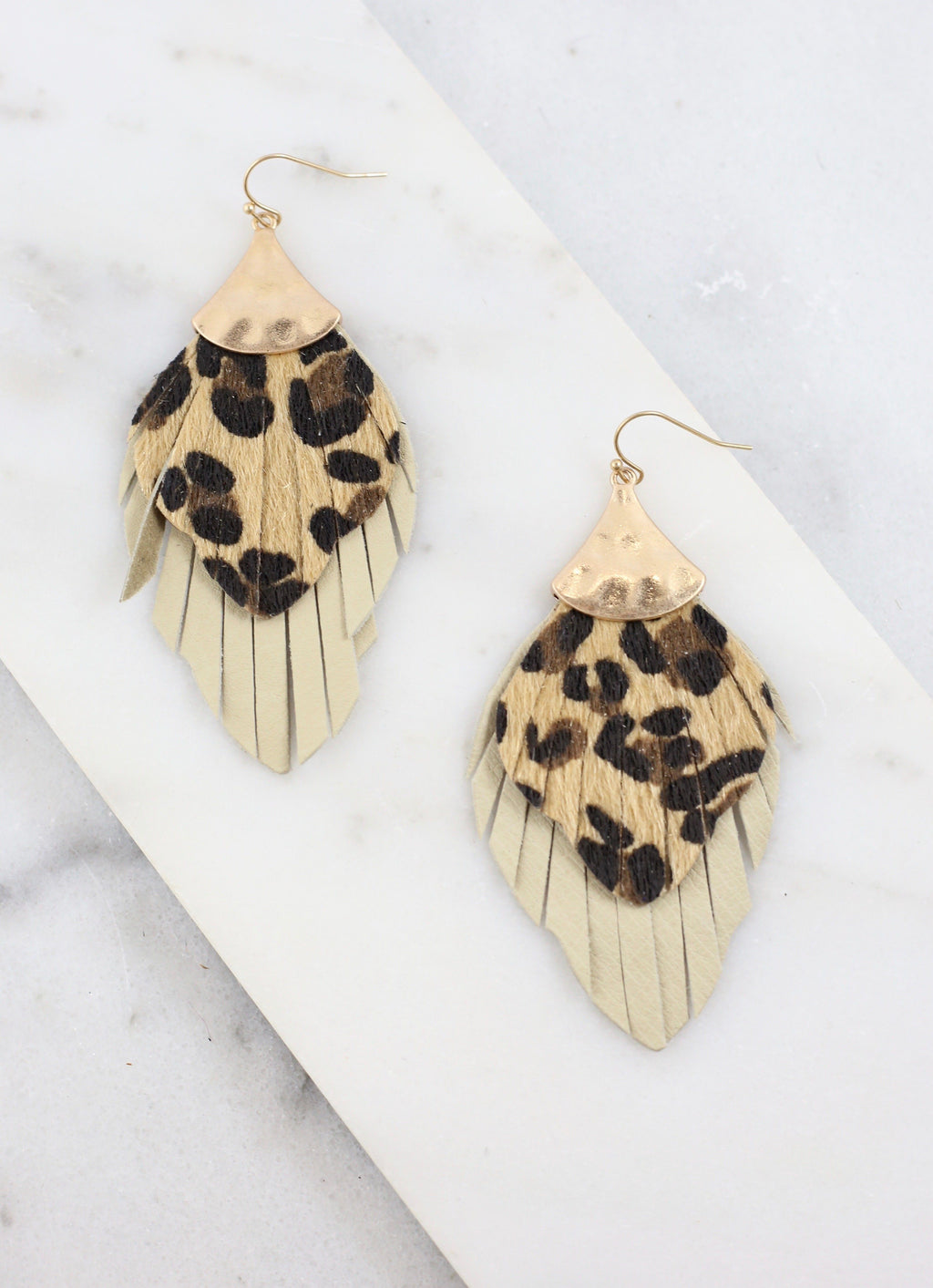 Hathaway Double Layer Leopard Earring - Caroline Hill