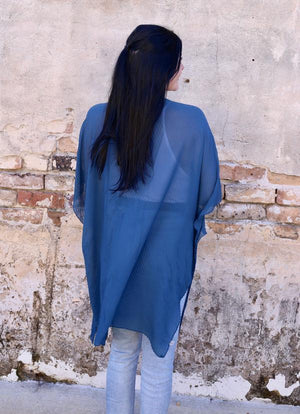 Haywood Pleated Kimono Blue - Caroline Hill