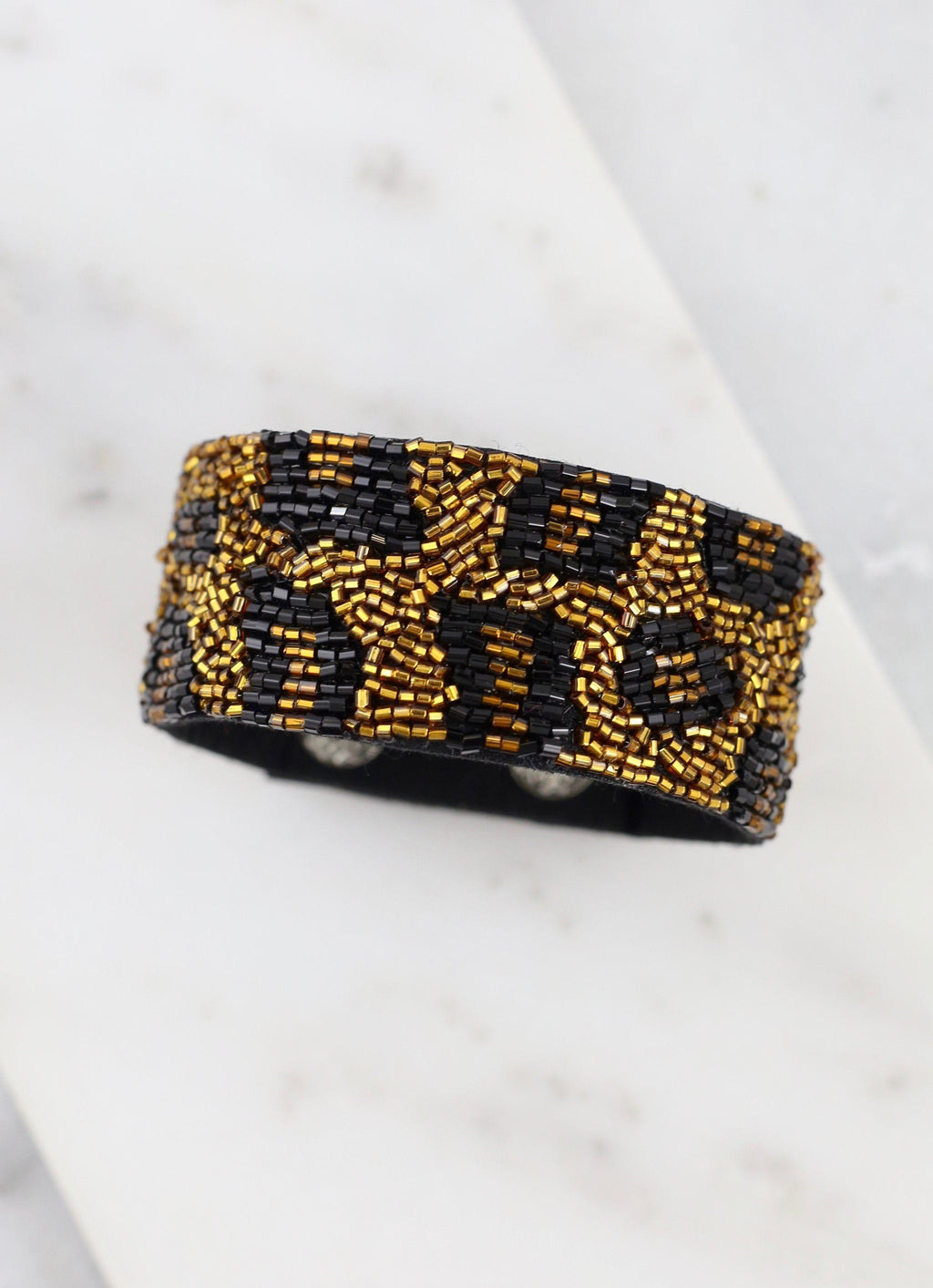 Hebron Brown Beaded Leopard Snap Bracelet - Caroline Hill
