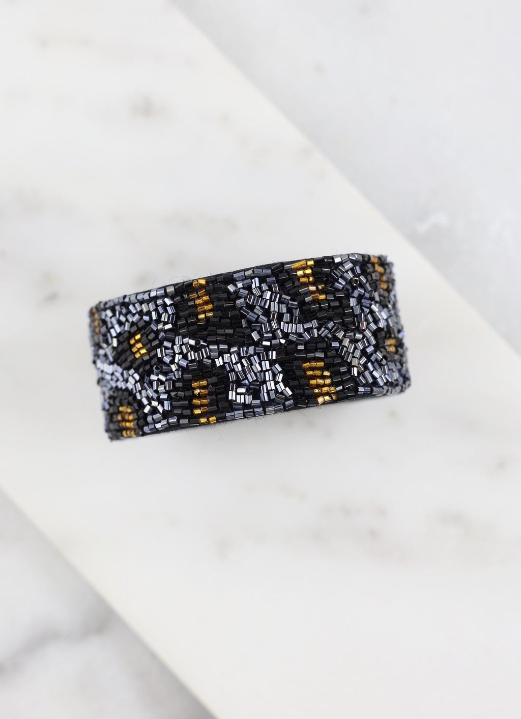 Hebron Navy Beaded Leopard Snap Bracelet - Caroline Hill