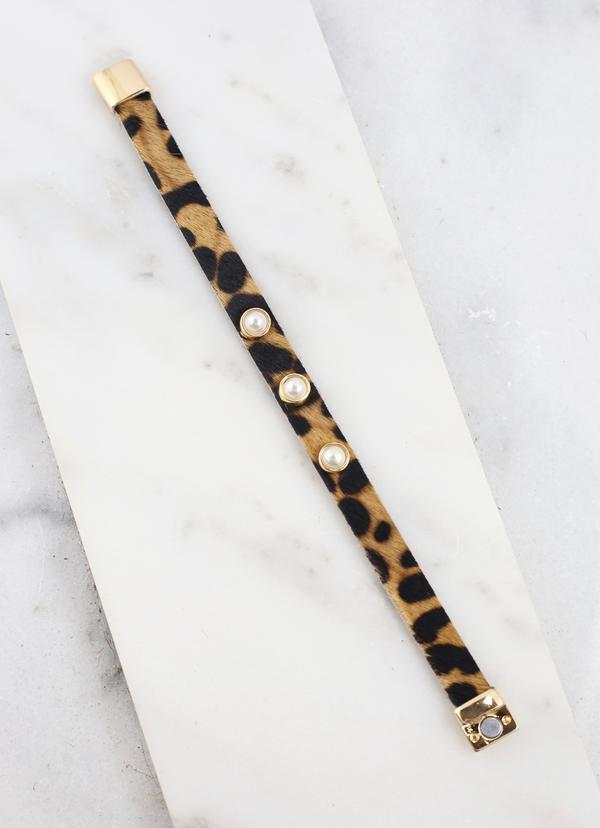 Hefferman Leopard Bracelet With Pearl Accents - Caroline Hill