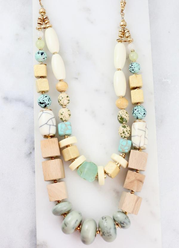 Helen Turquoise Chunky Beaded Necklace - Caroline Hill