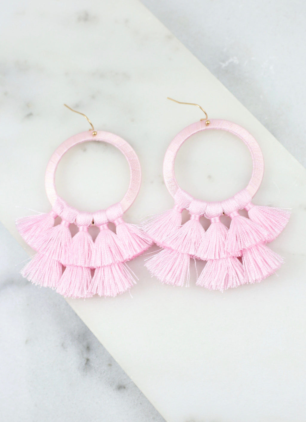 Helma Tassel Earring Light Pink - Caroline Hill