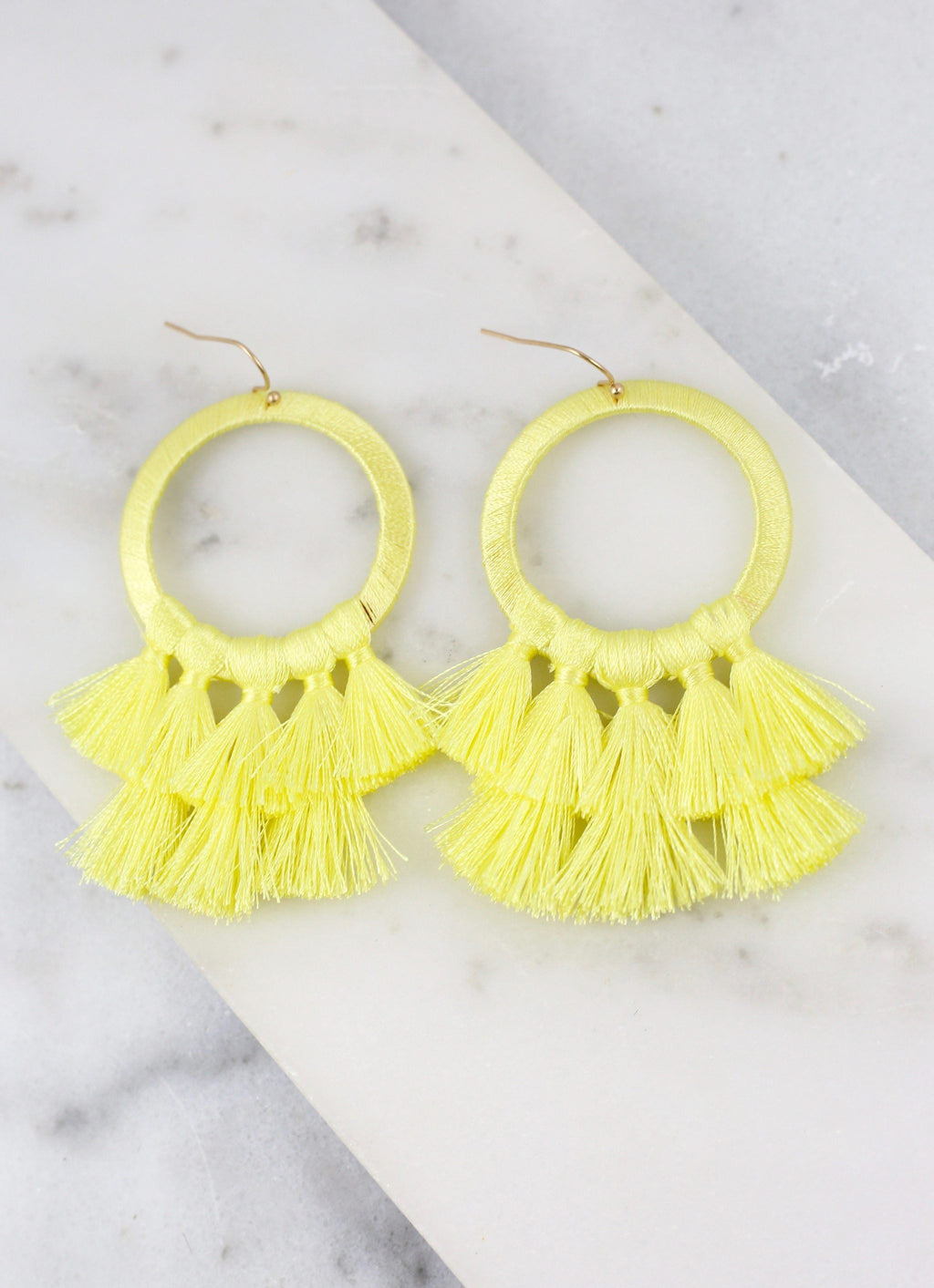 Helma Tassel Earring Light Yellow - Caroline Hill