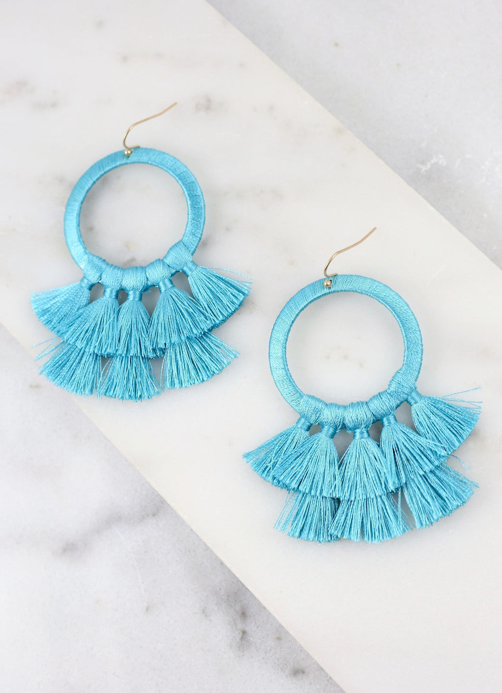 Helma Turquoise Thread Wrapped Earring - Caroline Hill