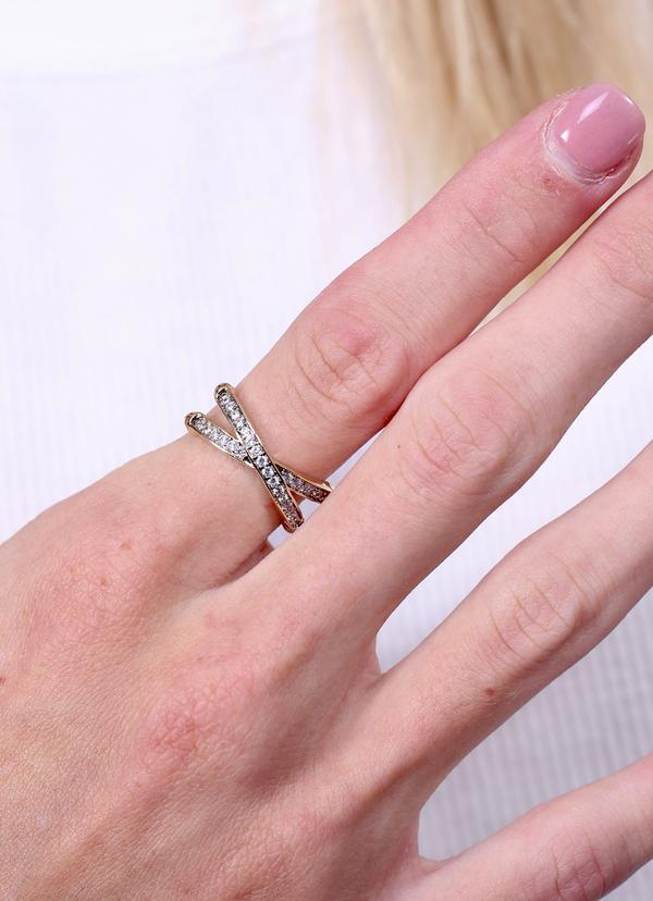 Helms Two Tone Ring With Cz Criss Cross Silver - Caroline Hill