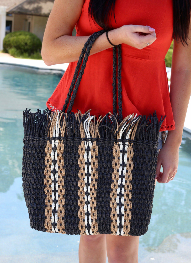 Hemsworth Black Stripe Woven Straw Bag - Caroline Hill