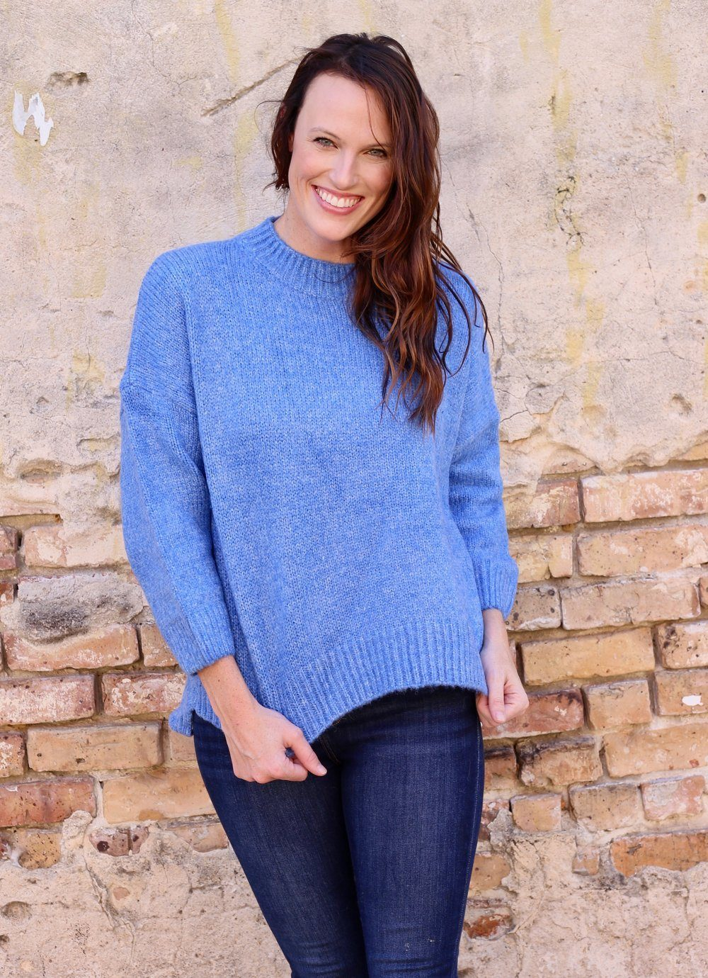 Here We Go Royal Blue Heathered Sweater - Caroline Hill