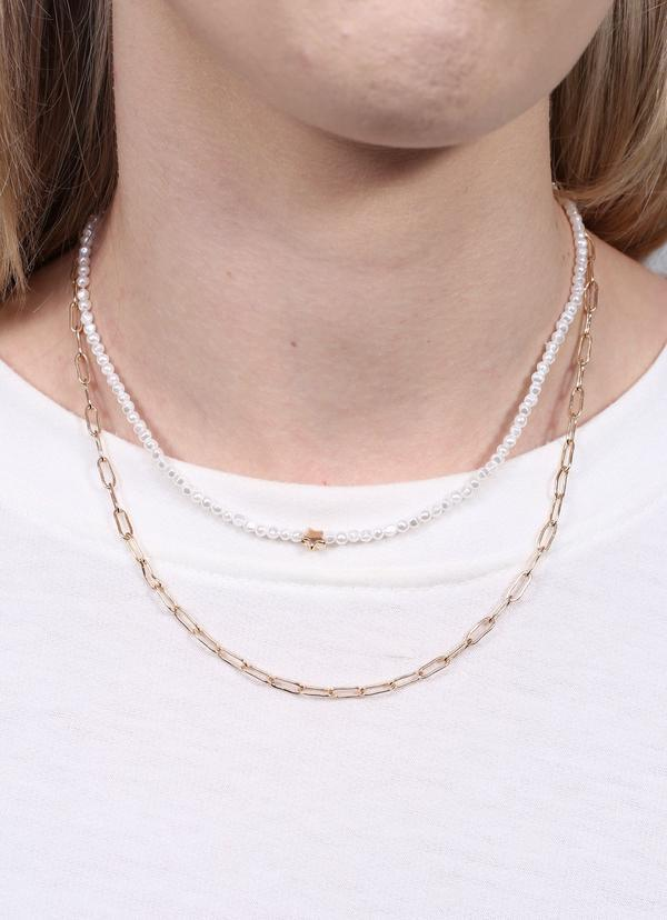 Hersha Double Layer Necklace With Pearl Strand Gold - Caroline Hill