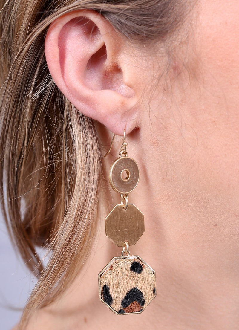 Hester Brown Leopard Triple Drop Earring - Caroline Hill