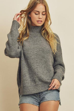 Hey There Girl Gray Sweater - Caroline Hill