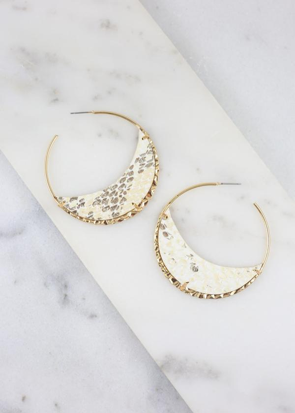 Hicks Metallic Snake Hoop Ivory - Caroline Hill