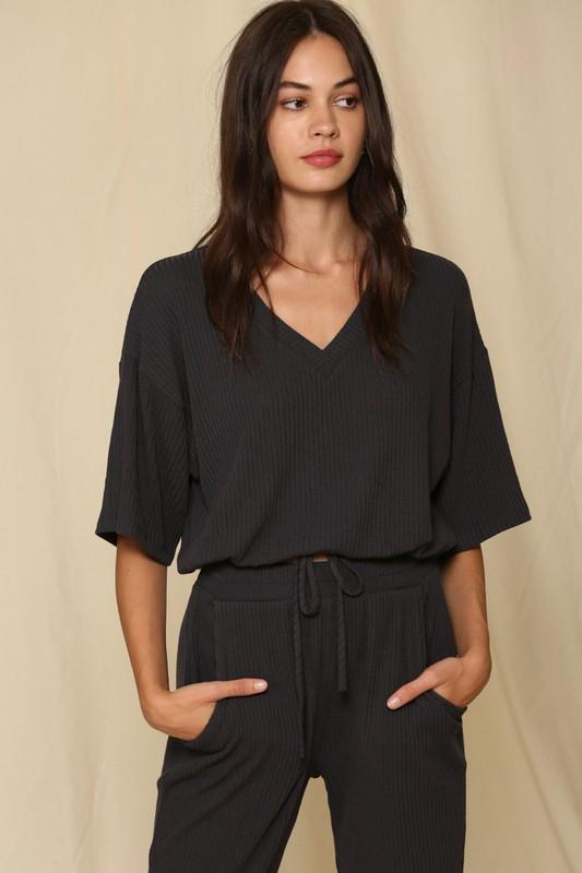 Hold You To It Charcoal Ribbed Front Tie Top - Caroline Hill