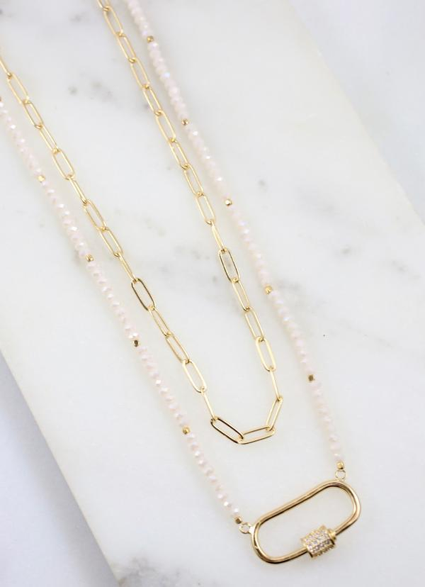 Hoss Layered Necklace With Oval Cz Accent Ivory - Caroline Hill