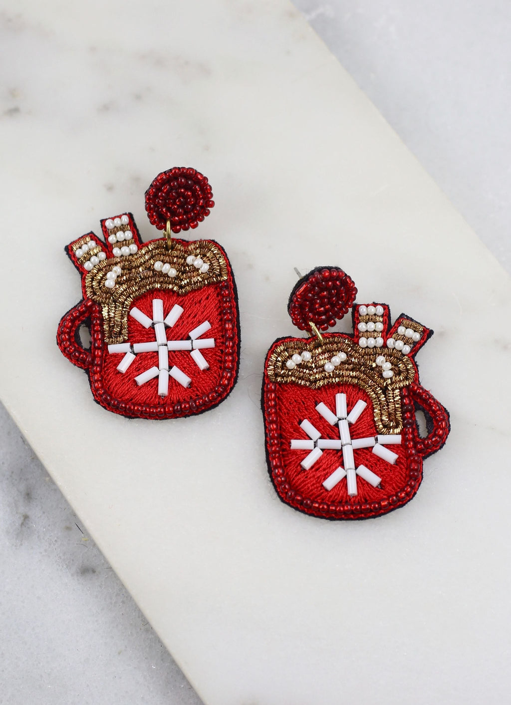 Hot Cocoa Mug Earring Red - Caroline Hill
