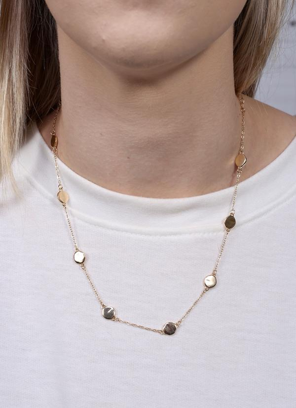 Hynden Neckace With Disc Accents Gold - Caroline Hill
