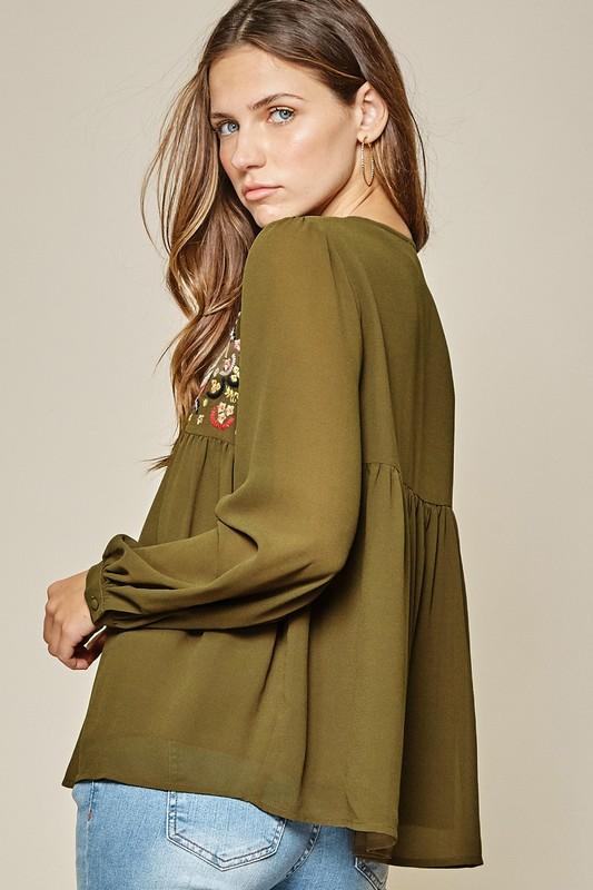 In A New Light Olive Embroidered Babydoll Top - Caroline Hill
