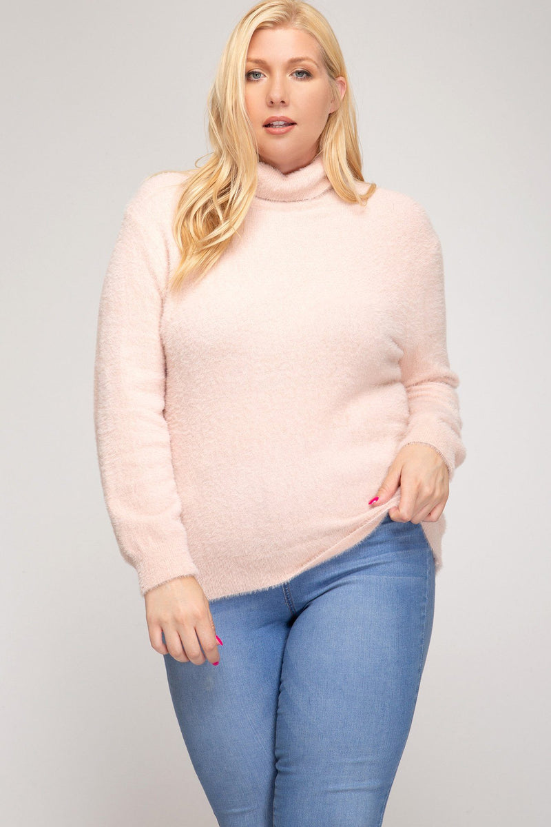 In The Pink Fuzzy Pretty Plus Sweater - Caroline Hill