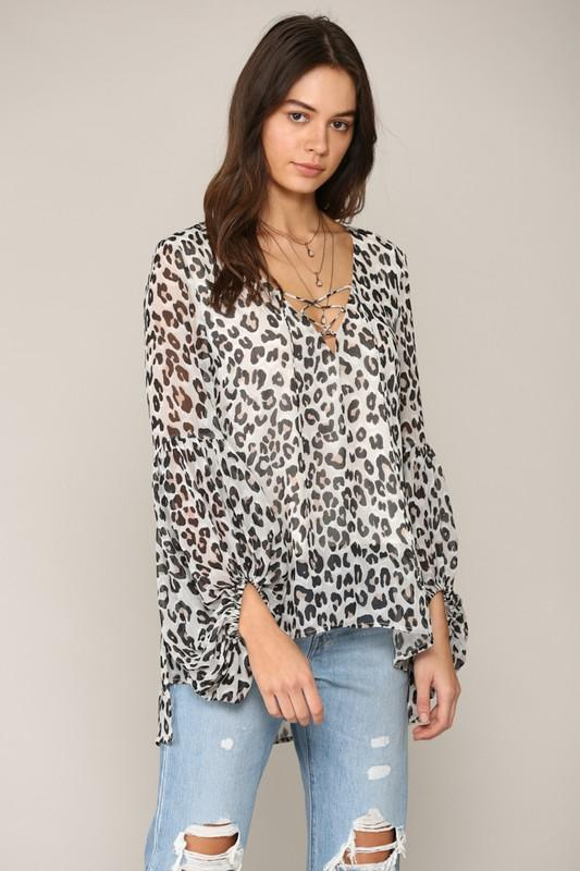 In the Swing of Things Ivory Leopard Lined Top - Caroline Hill